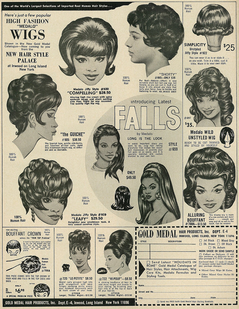"""1967 Illustrated Beauty Ad, Gold Medal High Fashion """"Medalo"""" Wigs & Falls"""